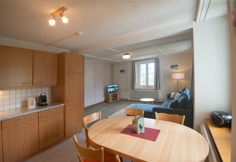 Berghof Hallau Ferienwohnung Küche Wohnraum